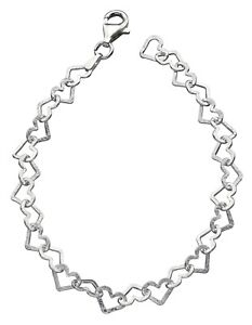 Elements 925 Polished Diamond-Cut Sterling Silver Ladies Heart Garland Bracelet
