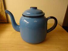 Vintage 1950s Retro Kitsch BLUE Enamel Kettle Tea Pot Display Prop Kitchenalia