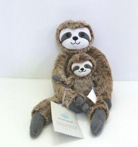 Cloud-Island-Mama-amp-Baby-Sloth-Plush-Toy-and-Rattle-Set