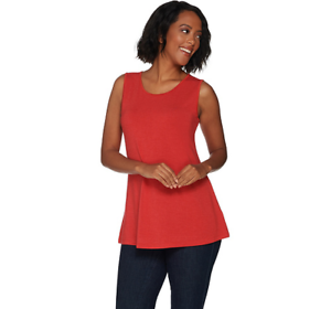 H Halston Essentials Crew Neck Knit Tank Hthr Crimson M NEW A300835