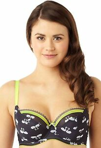 New-Cleo-by-Panache-Lily-Balcony-Bra-Swan-Print-Charcoal-7351-VARIOUS-SIZES