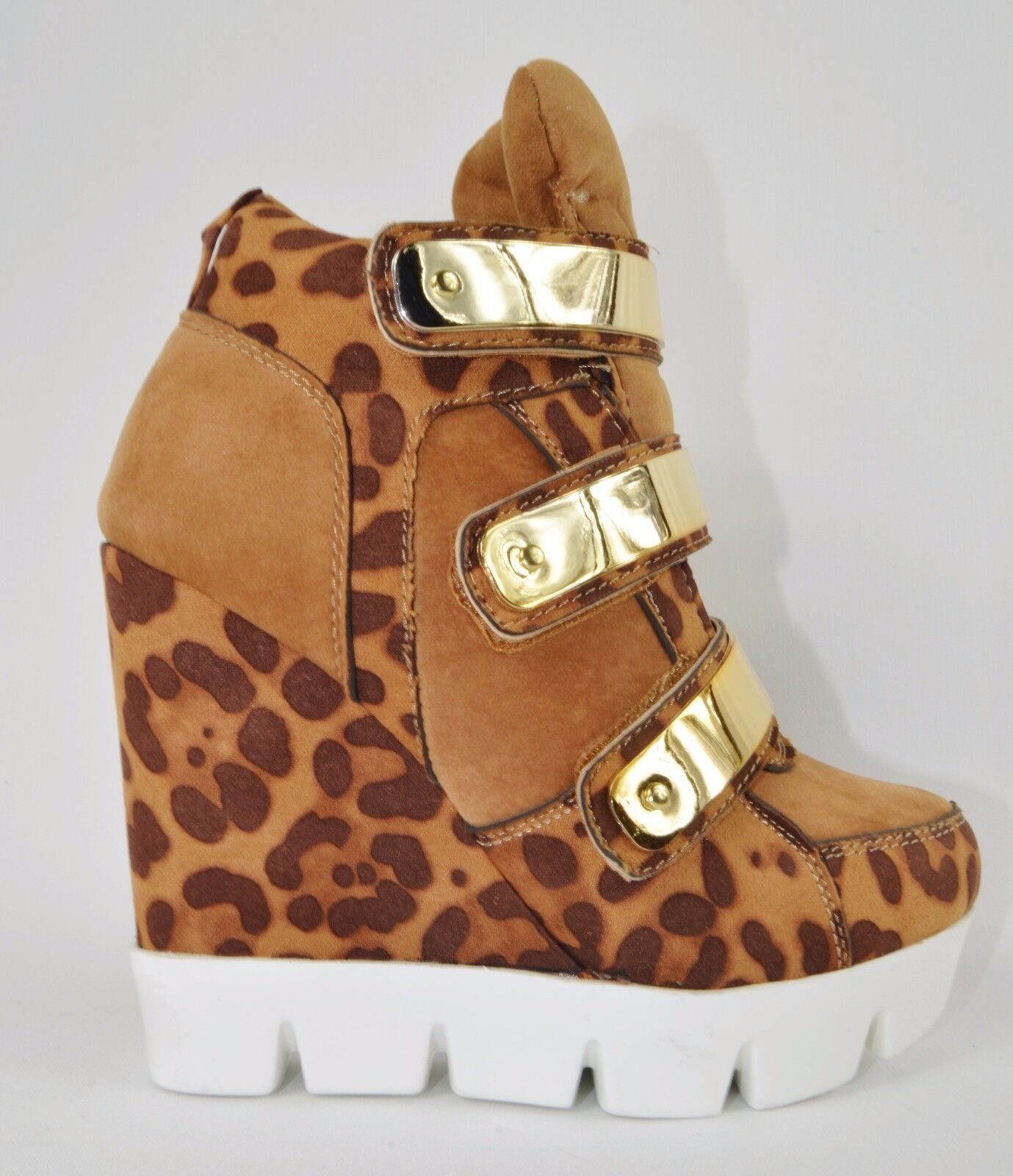 Convince Lug Sneaker Sole 3 Metallic Band Sneaker Lug Wedge Schuhe Tan Leopard Größe 7 751698