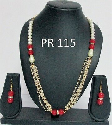 Indian Fashion Jewelry Wedding Bridal Kundan Crystal Pearl Necklace Earrings Set