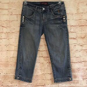a58bf3b77b3 Baby Phat Womens Size 9 Medium Blue Wash Denim Capris Skinny Cropped ...