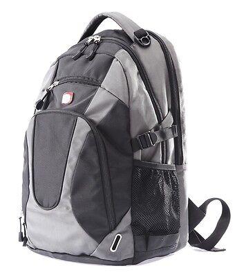 "18""BIG BRAND NEW LAPTOP BACKPACK,COLLEGE SCHOOL BAG BLACK/GREY 10001"