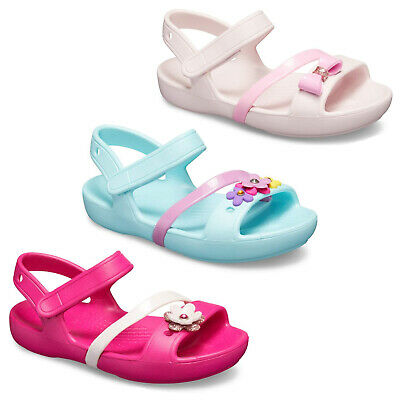 6c284204e8 Crocs Lina Charm Flats Girls Summer Beach Sandal Kids Childrens Clogs UK4-3    eBay