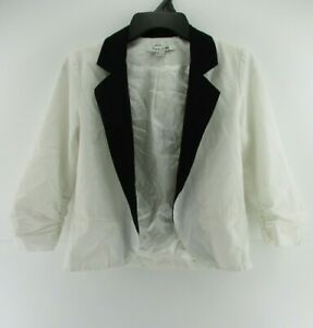 Forever-21-Womens-Size-Small-S-Cropped-Blazer-White-Black-Jacket