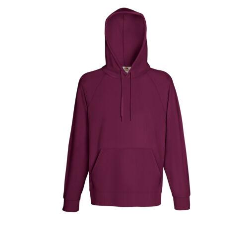 Fruit of the Loom Lightweight Hoodie Sweatshirt Mens Raglan Sleeves Hoody Tops
