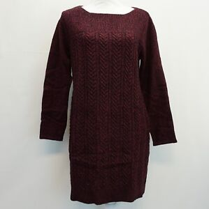 1fdc1cc1cb Style & Co Womens Boat Neck Cable Knit Sweater Dress Purple Black ...