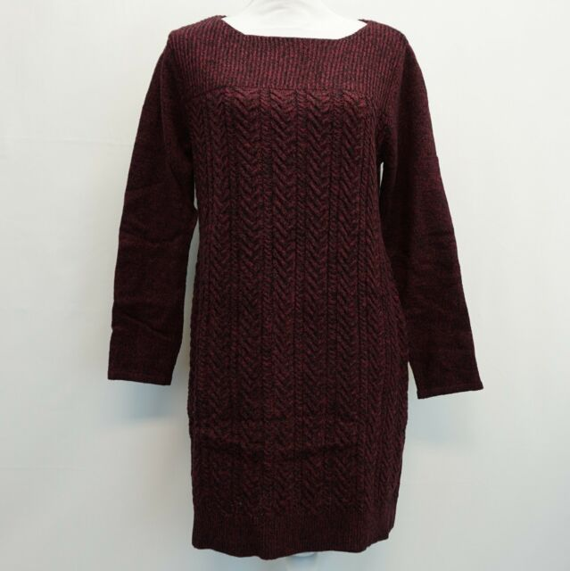 a093dc5e0a7c Style & Co Womens Boat Neck Cable Knit Sweater Dress Purple Black Marl L  4CHB