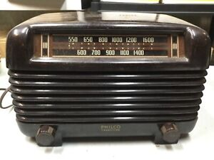 Philco-Transitone-1940-s-Bakelite-Art-Deco-Retro-AM-Tube-Radio-Model-48-250