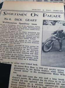 m1-5-ephemera-1949-Picture-Article-Speedway-Star-Dick-Geary-Walthamstow