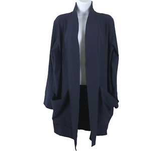 Eileen Fisher Kimono Open Jacket Crepe Midnight Blue Stretch NWT Women's XL