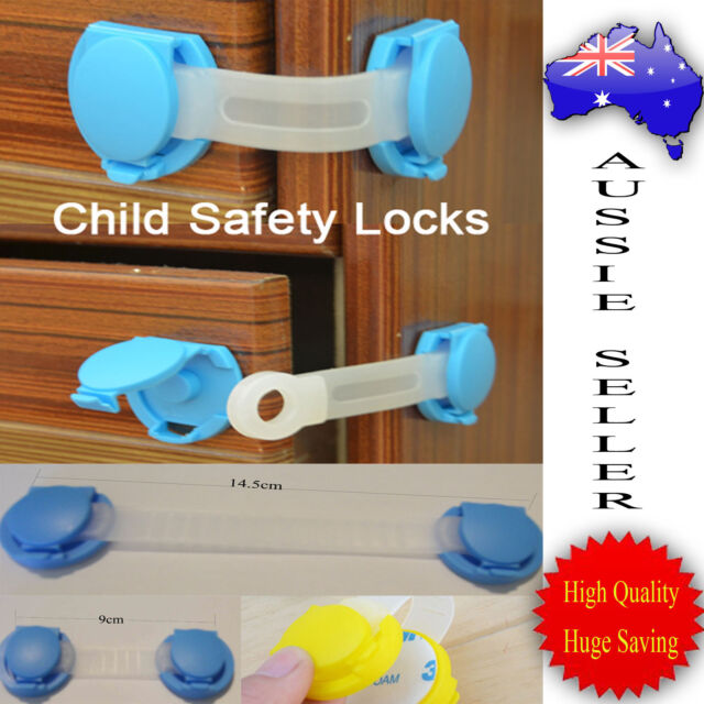 Children 2x Baby Kids Cupboard Cabinet Doors Drawers Safety Locks-Long or Short