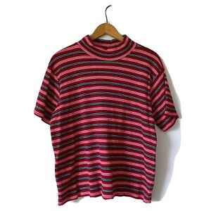 Medium-Vintage-Womans-Red-Striped-Short-Sleeve-Mock-Neck-Ribbed-Blouse-Top