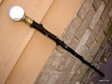 black-stain Knobby APPLE-WOOD SHILLELAGH/cane~white/black MARBLE swirl knob~gift