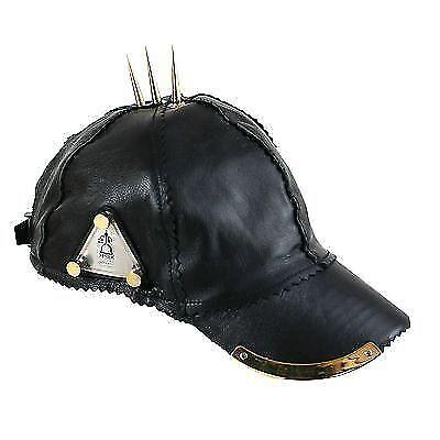 fadc336f9706 Details about black leather baseball cap gold spikes hip hop rapper DJ MC  unusual Goth Punk