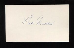 Pat Mullin Signed 3x5 Index Card Signature Autographed Baseball Player