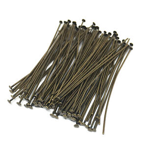 antiqued brass plated headpins 2 inch 21 gauge