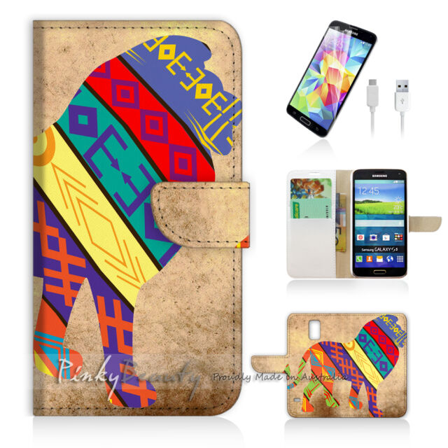 ( For Samsung S5 ) Wallet Case Cover Aztec Tribal Lion P1405