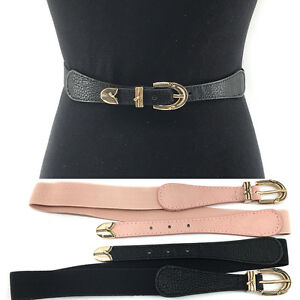 31db39aab WOMEN Fashion ELASTIC stretch Waist Thin Belt Gold Metal Hook Skinny ...