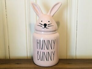 Rae-Dunn-Easter-By-Magenta-Pink-HUNNY-BUNNY-Canister-with-Bunny-Ears-Head-Lid