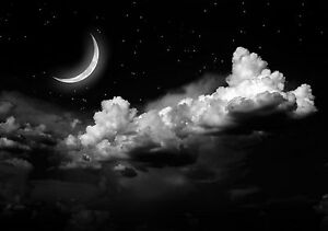 Image Is Loading Beautiful Night Sky Moon Star Poster Wall Art