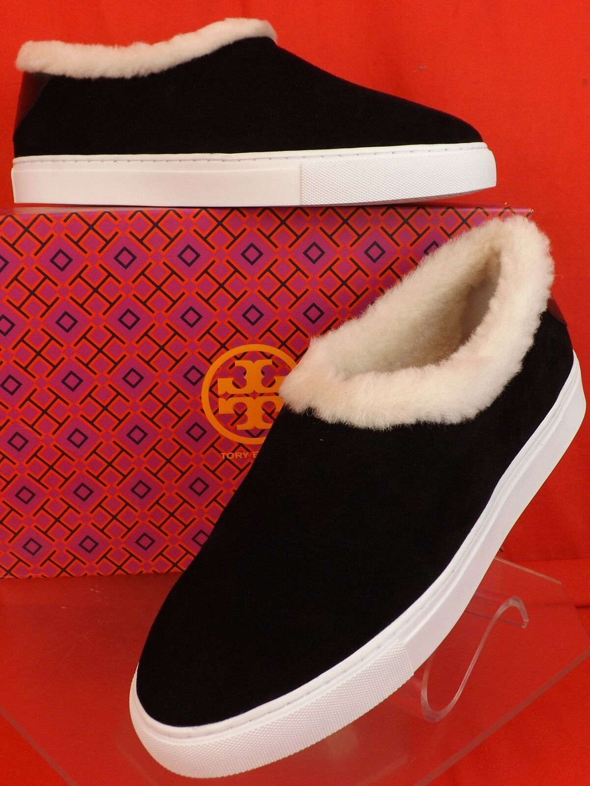NIB TORY BURCH MILLER   noir  SUEDE SHEARLING  REVA SLIP ON SNEAKERS 7.5 $295