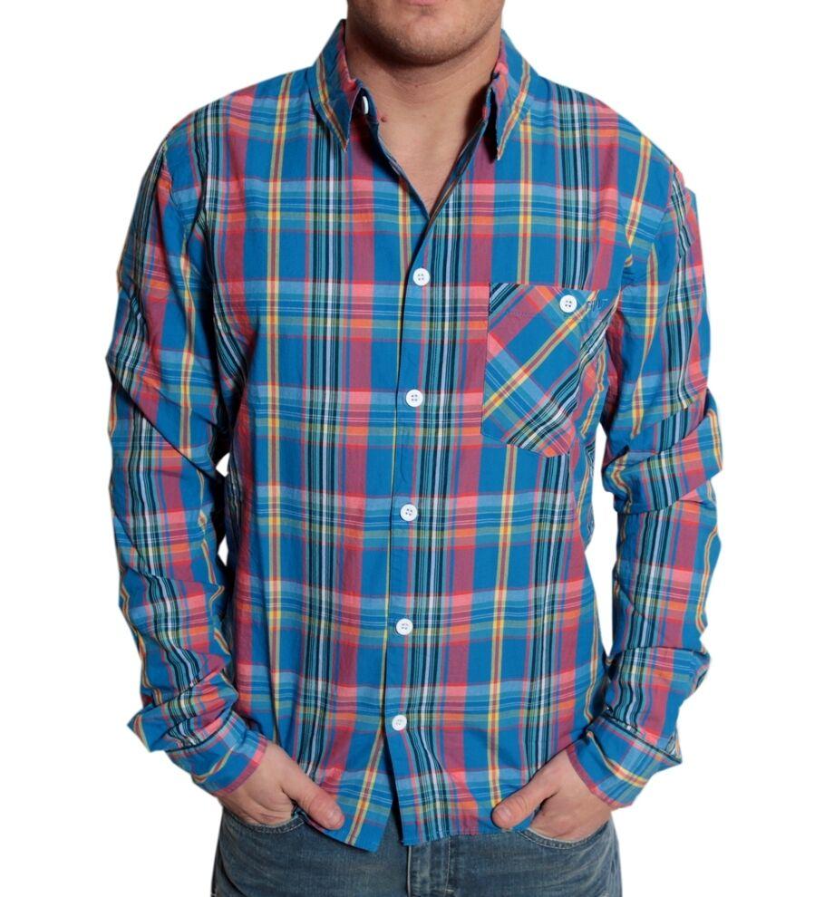 RVLT REVOLUTION Kirk Uomo Camicia Shirt tg S Blu A Quadri Tempo Libero Manica Lunga blu