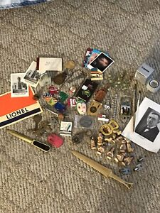Vintage Junk Drawer Lot OHIO Coors Keychains Pins Marbles Locks & Keys Lionel