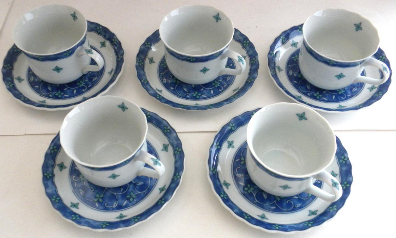 Giappone Fine Porcellana Set di 5 Tazze da Tè & Piattini Artistico Qualità