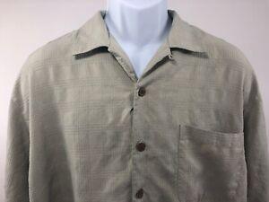 Tommy-Bahama-Men-039-s-Short-Sleeve-Shirt-Size-Large-100-Silk-Light-Green-Plaid