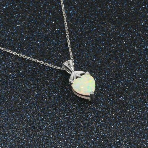 Noble Joya ópalo plata esterlina 925 en forma de corazón Colgante Collar