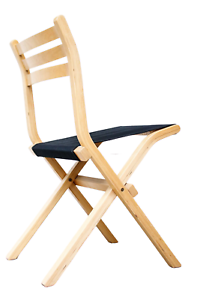 Palo-Klapp-Stuhl-Birke-amp-Stoff-schwarz-Vintage-Ikea-Design-Folding-Chair-80er-1