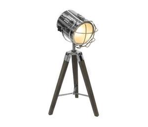 new concept b2098 3e50f Details about NEW VINTAGE STYLE TRIPOD SPOTLIGHT MOVIE DESK TABLE LAMP  LIGHT BROWN CHROME