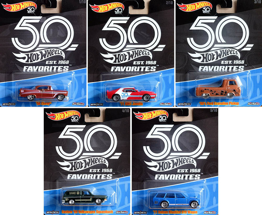 50th Anniversary Premium Collector Favorites Set 5 modelli 1 64 HOT WHEELS flf35