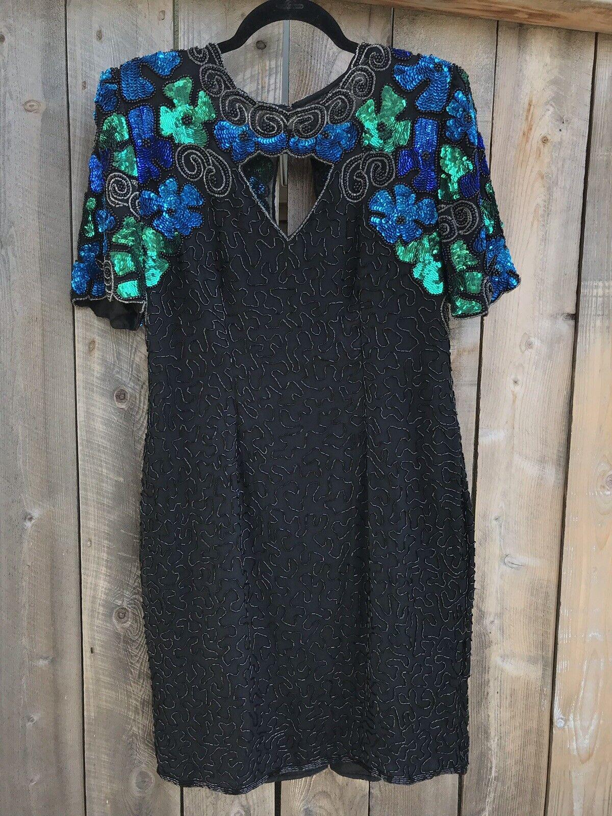 Laurence Kazar Sequin Beaded 100% Silk damen's Dress Größe XL