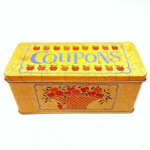 Vintage Yellow Coupons Collectible Tin Storage Container w/ Labeled Dividers
