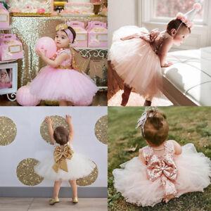 Flower Girl Sequin Bow Tutu Dress Kid Baby Princess Birthday Party Wedding Gown