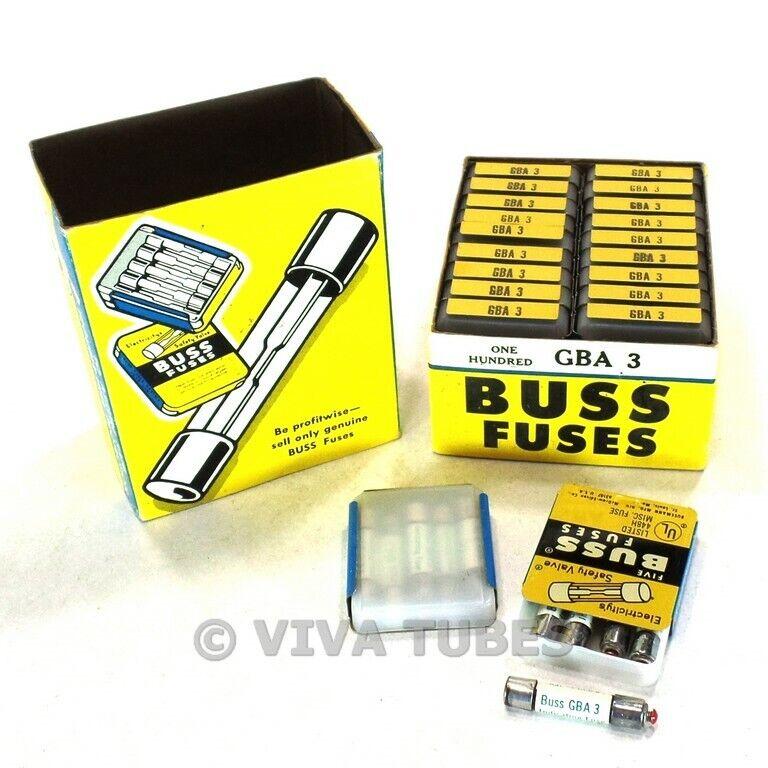 NOS Nib Vintage Bussmann Sicherungen 100 Count Box Typ GBA3 Indikation 3 Amps
