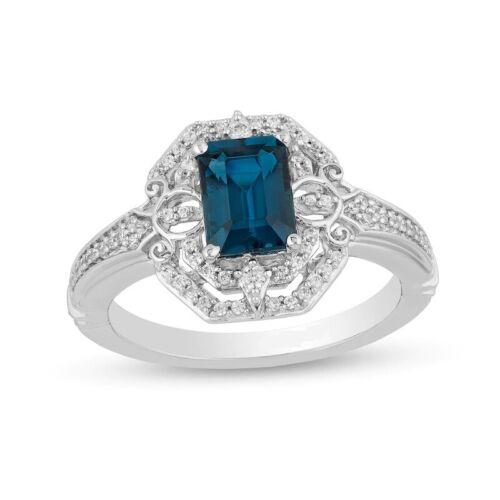 Enchanted Disney Cinderella Octagonal London Blue Topaz 1//6CT Diamond Ring Silve