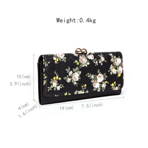 Ladies Girls Purse Wallet Card Holder Short Clutch Patent Leather Ball Clasp