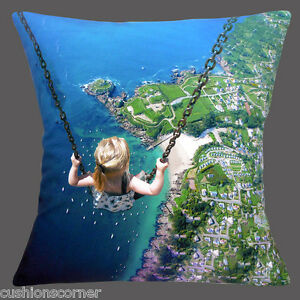 NEW-SURREAL-PHOTO-GIRL-ON-SWING-BIRD-039-S-EYE-VIEW-OVER-SEA-LAND-16-034-Cushion-Cover