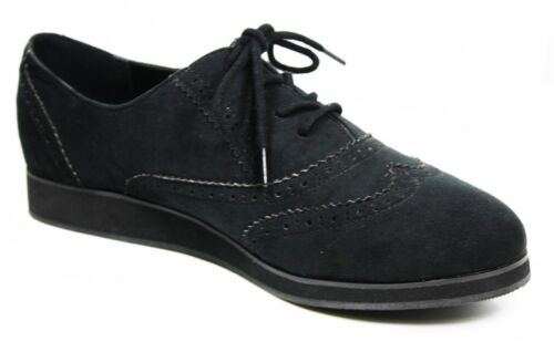 WOMENS GIRLS BLACK SUEDE OFFICE WORK SCHOOL OXFORD BROGUE PUMPS SHOES SIZE