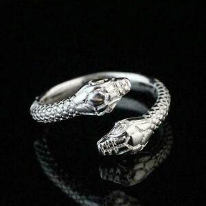 925-Sterling-Silber-Uberzogene-Frauen-Maenner-Mode-Ring-Geschenk-GeOffnet-T1U6