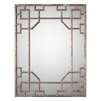 Pagoda Wall Mirror Antique Gold 36 Oxidized Metal Rectangle Geometric Fretwork