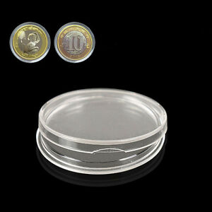 10pcs Plastic 27mm Applied Clear Round Cases Coin Storage Capsules Holder TDO