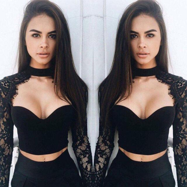 Sexy Fashion Women's Long Sleeve Bustier Bra Crop Tops Bralette Lace Blouse Tee