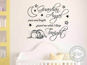 Nursery Wall Sticker Guardian Angel Quote Baby Boy Girl Bedroom Wall