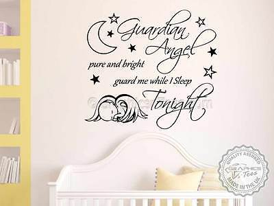 Nursery Wall Sticker Guardian Angel Quote Baby Boy Bedroom Decor Decal Ebay